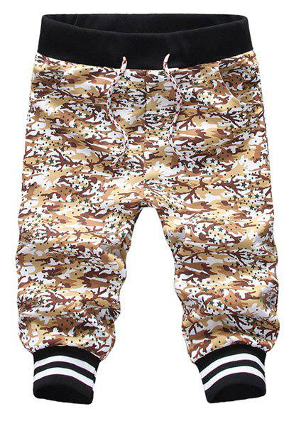 Sports Style Beam Feet Camo Print Slimming Lace-Up Capri Pants For Men - COFFEE M