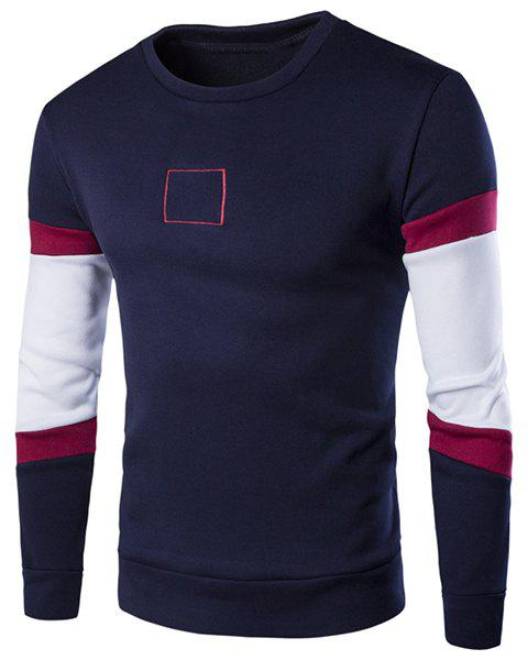Round Neck Square Embroidered Color Block Spliced Long Sleeve Men's Sweatshirt - PURPLISH BLUE L