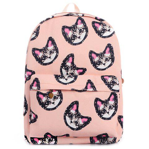 Cute Cat Print and Canvas Design Satchel For Women - PINK