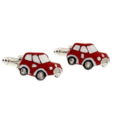 Pair of Stylish Small Red Car Shape Alloy Cufflinks For Men - RED