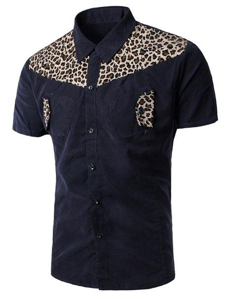 Casual Turn Down Collar Leopard Print Short Sleeves Shirt For Men - CADETBLUE M