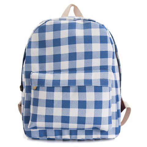 Leisure Gingham Print and Blue Design Satchel For Women - BLUE