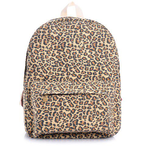 Trendy Leopard Print and Canvas Design Satchel For Women - LEOPARD