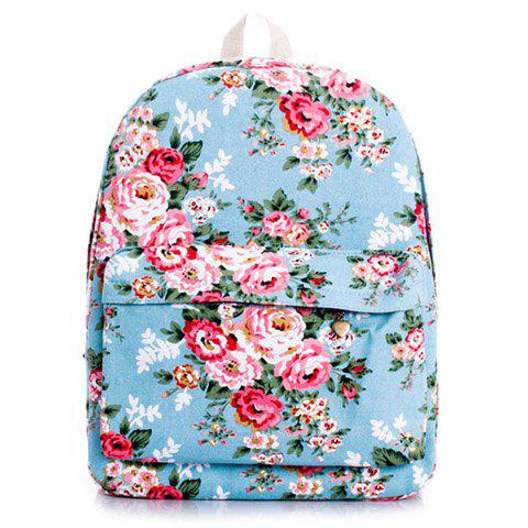 Sweet Floral Print and Canvas Design Satchel For Women - BLUE
