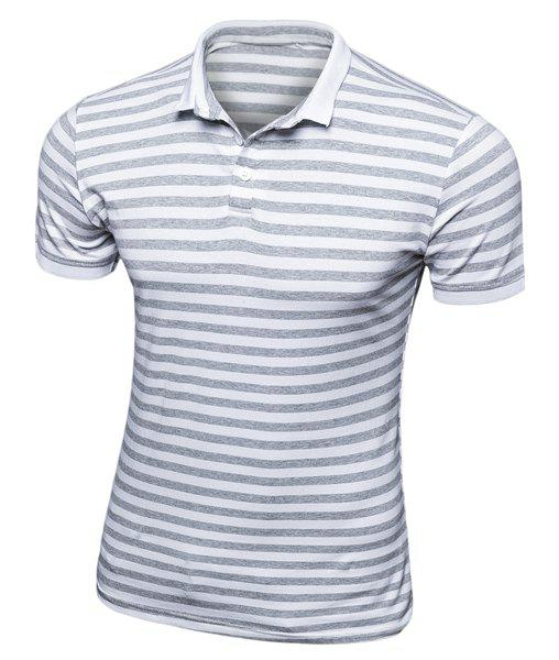 Slim Fit Short Sleeves Stripe Turn Down Collar Half Button Polo T-Shirt For Men