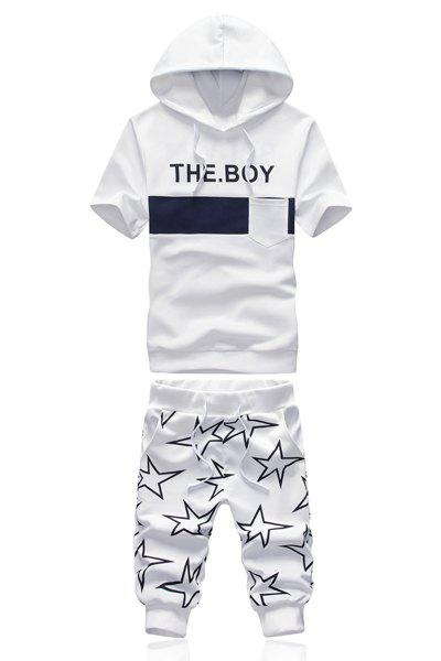 Slimming Hooded Letters Stars Print Short Sleeves Hoodie+Capri Pants For Men - WHITE L