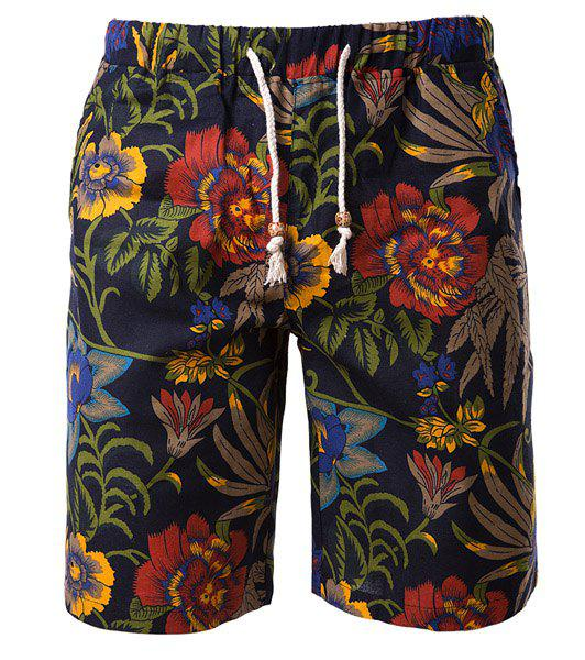 Vogue Straight Leg Floral Print Fitted Lace-Up Men's Cotton+Linen Shorts - COLORMIX M