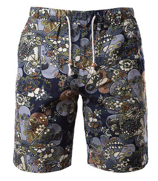 Fitted Straight Leg Flower Print Lace-Up Cotton+Linen Board Shorts For Men