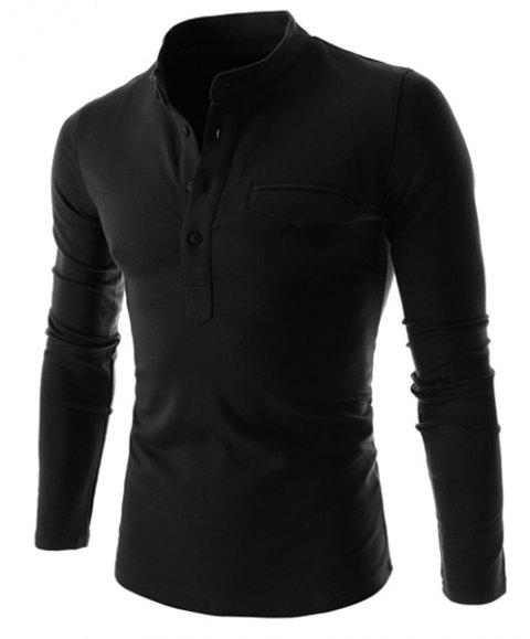 Simple Stand Collar Pure Color Long Sleeve Men's T-Shirt - BLACK XL