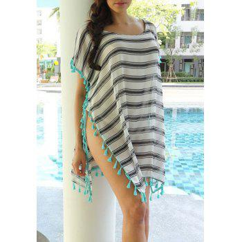 Stylish Scoop Neck Striped Tassel Spliced Short Sleeve Women's Cover-Up