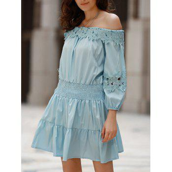 Sweet Style Off-The-Shoulder Long Sleeve Solid Color Elastic Waist Women's Dress