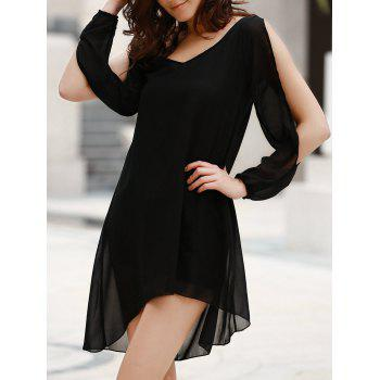 Stylish Scoop Neck Long Sleeve Solid Color See-Through Asymmetrical Hollow Out Women's Dress