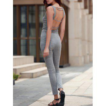 Stylish U Neck Sleeveless Backless Sheathy Gray Women's Jumpsuit