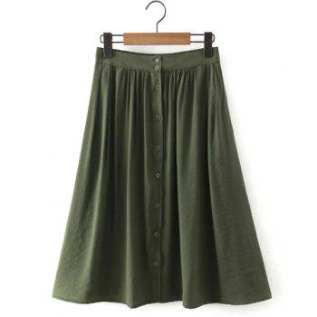 High Waisted Buttons Embellished Flare Skirt For Women