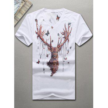 V-Neck 3D Butterfly and Elk Printed Short Sleeve Men's T-Shirt