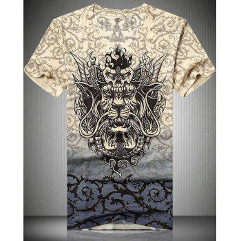 V-Neck 3D Dragon and Thorns Printed Short Sleeve Men's T-Shirt