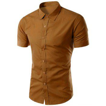 Simple Shirt Collar Solid Color Slimming Men's Short Sleeves Shirt