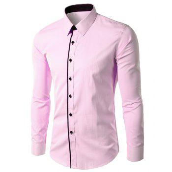 Vogue Slimming Shirt Collar Color Block Button Fly Men's Long Sleeves Shirt
