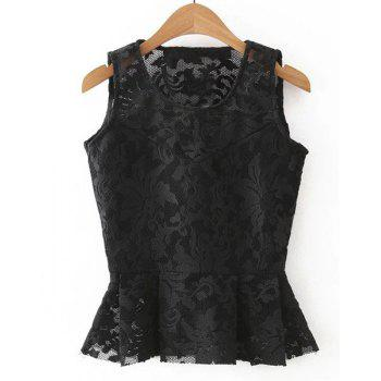 Sweet Scoop Neck Sleeveless Women's Floral Lace Blouse