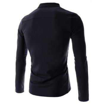 Simple Stand Collar Pure Color Long Sleeve Men's T-Shirt - CADETBLUE M