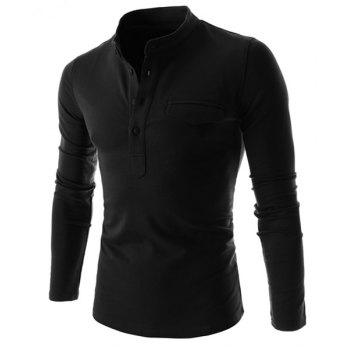 Simple Stand Collar Pure Color Long Sleeve Men's T-Shirt