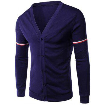 Slimming Stripe Long Sleeves V Neck Cotton Blends Cardigan For Men