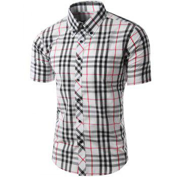 Trendy Slimming Colorful Plaid Pattern Short Sleeves Men's Button-Down Shirt