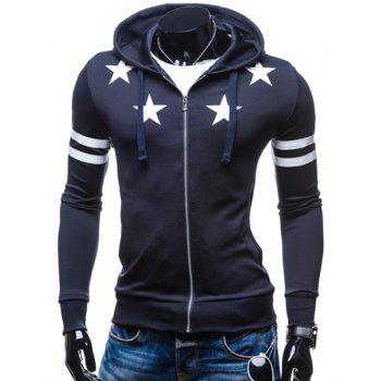 Hooded Stars Pattern Stripes Printed Long Sleeve Men's Hoodie