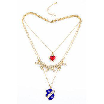 Chic Multi-Layered Bowknot Heart Necklace For Women - GOLDEN
