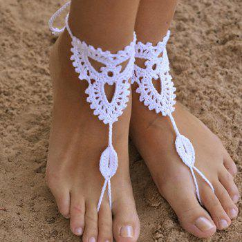 Pair of Trendy Knitted Clover Sandal Anklets For Women