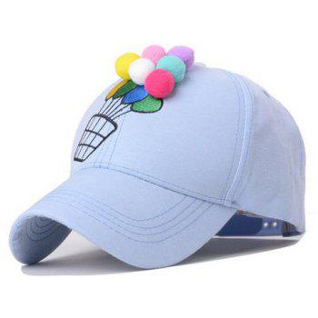 Cute Coloured Globe Embellished Balloon Embroidery Baseball Hat For Women