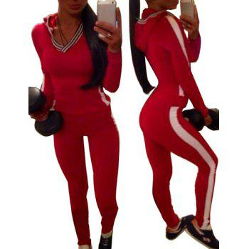 Chic Long Sleeve Hooded Hit Color Two-Piece Women's Activewear Suit