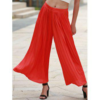 Trendy Pleated Jacinth Chiffon Wide-Leg Ankle Pants For Women