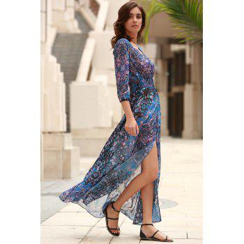 Elegant V-Neck 3/4 Sleeve Single-Breasted Women's Maxi Dress - BLUE L