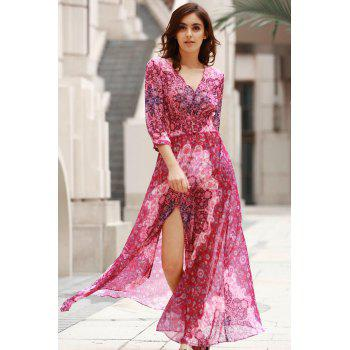 Elegant V-Neck 3/4 Sleeve Single-Breasted Women's Maxi Dress - XL XL
