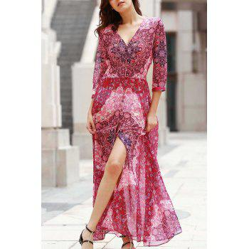 Elegant V-Neck 3/4 Sleeve Single-Breasted Women's Maxi Dress