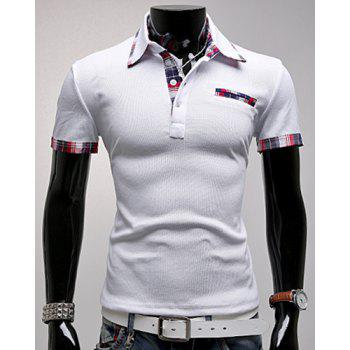 Turn-Down Collar Plaid Spliced Short Sleeve Men's Polo T-Shirt