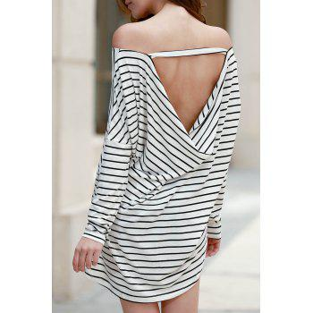Stylish Jewel Neck Bat-Wing Sleeve Striped Open Back Women's T-Shirt
