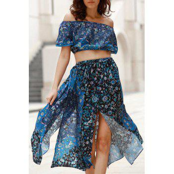Trendy Off-The-Shoulder Crop Top + Printed Slit Midi Skirt Women's Twinset