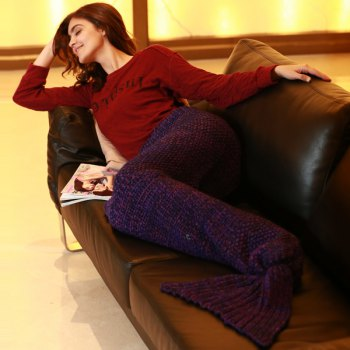 Stylish Artist Playfully Redesigns Cozy Blankets As Crocheted Mermaid Tails - PURPLE PURPLE