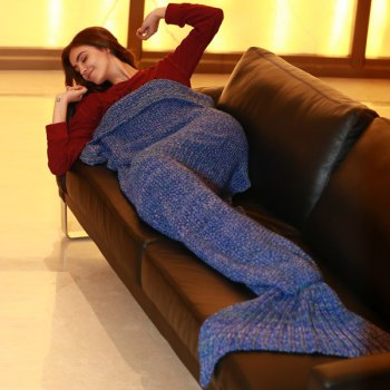 Stylish Artist Playfully Redesigns Cozy Blankets As Crocheted Mermaid Tails - BLUE W31.50INCH*L70.70INCH