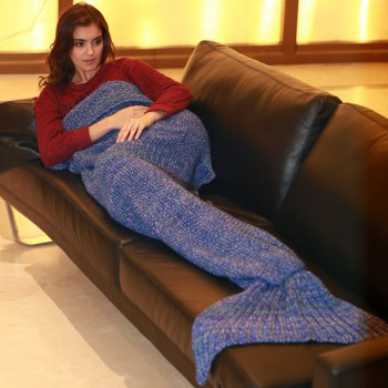 Stylish Artist Playfully Redesigns Cozy Blankets As Crocheted Mermaid Tails - BLUE W15.75INCH*L35.43INCH
