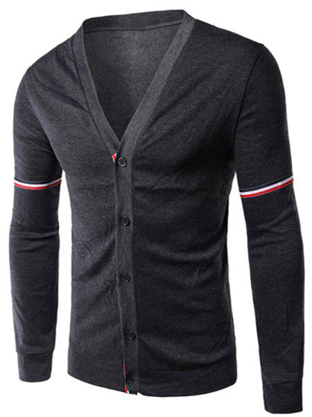 Slimming Stripe Long Sleeves V Neck Cotton Blends Cardigan For Men - DEEP GRAY L
