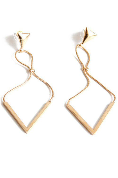 Pair of Hollowed Triangle Drop Earrings - GOLDEN