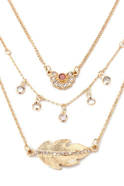 Leaf Rhinestone Multilayered Necklace - GOLDEN