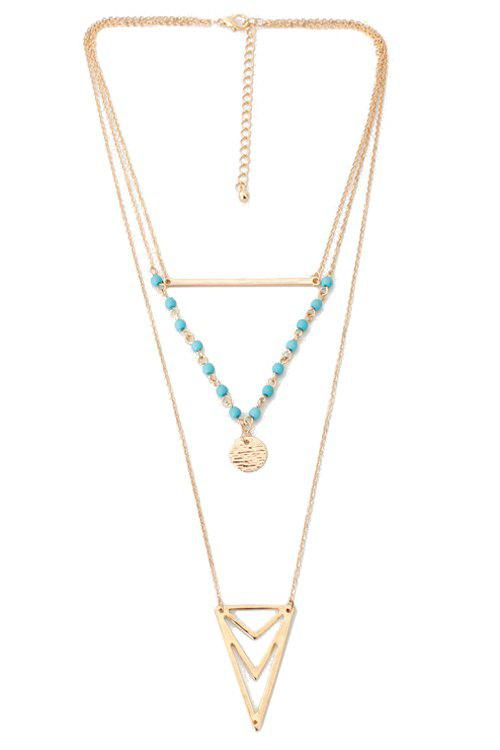 Ethnic Triangle Multi-Layered Necklace - GOLDEN