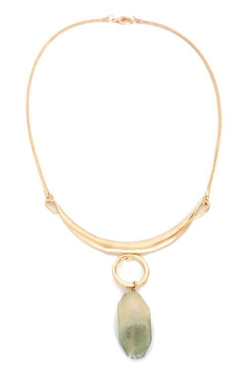 Delicate Alloy Natural Stone Necklace For Women - GOLDEN