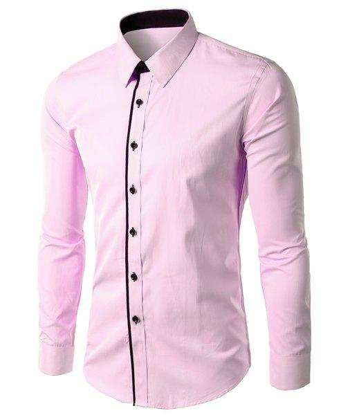Vogue Slimming Shirt Collar Color Block Button Fly Men's Long Sleeves Shirt - PINK M