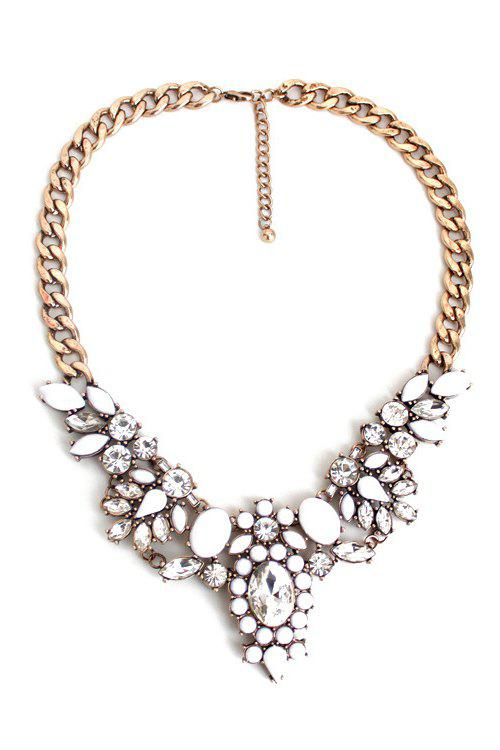 Floral Faux Crystal Necklace - GOLDEN