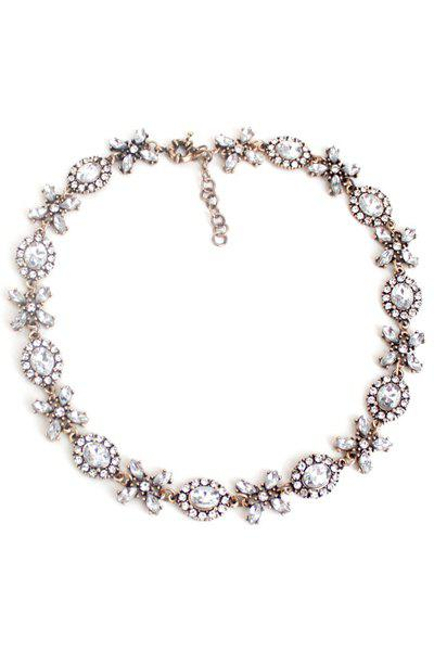 Vintage Floral Faux Crystal Necklace - WHITE